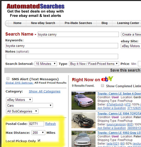 Search Ebay Automatically For Local Items Like You Would On Craigslist Noticraig Com Notifications Made Easy